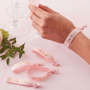 "Pink & Rose Gold ""Team Bride"" Wrist Bands"